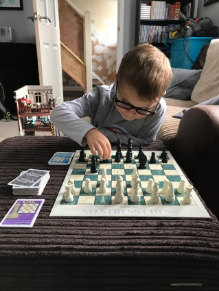 Saturday morning, learning to play chess